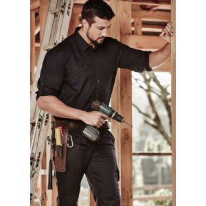 Mens 100% Cotton Rugged Cooling Long Sleeve Work Shirt